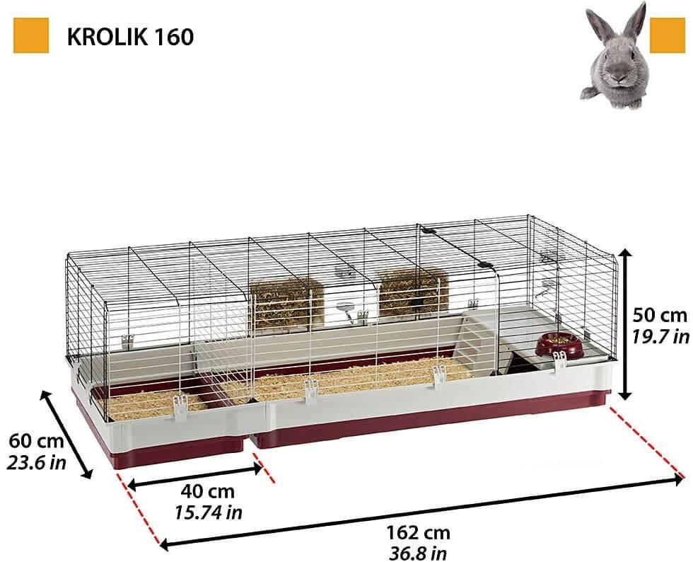 Tamaño de la jaula Ferplast Krolik 160