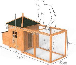Vounot 4401916641303 Pequeña casa de pollo, madera, aves de corral, 190 cm x 100 cm x 55 cm